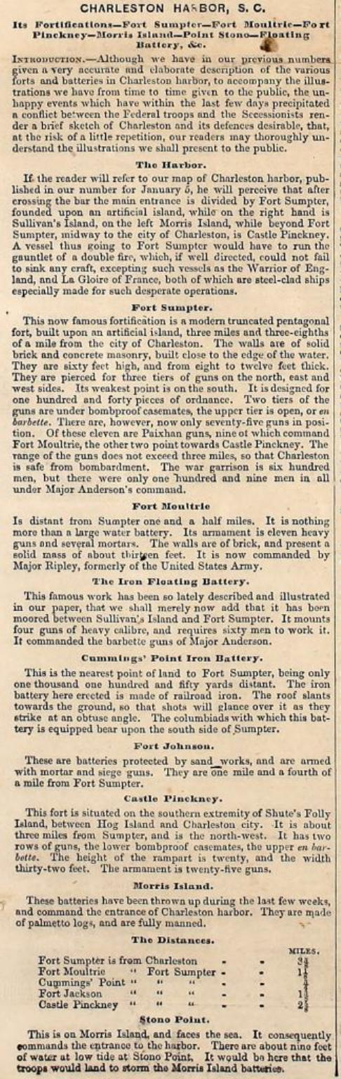 April 27, 1861 article on the attack on Fort Sumter and the Charleston Harbor, and the coverage of events by Frank Leslie's Illustrated Newspaper