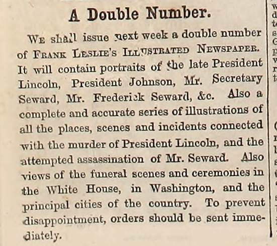Article about further coverage to come on the Lincoln assassination appearing in Frank Leslie's Illustrated Weekly