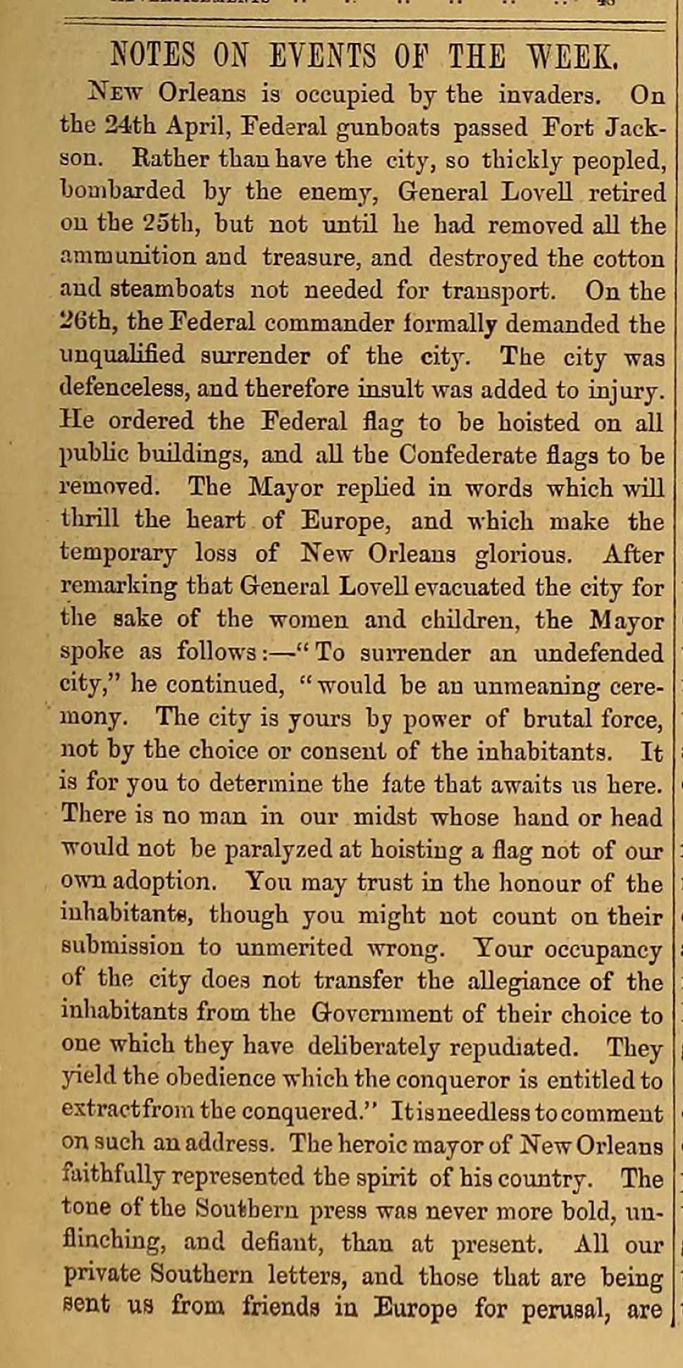Article on the Union capture of New Orleans from the May 15, 1862 issue of The Index