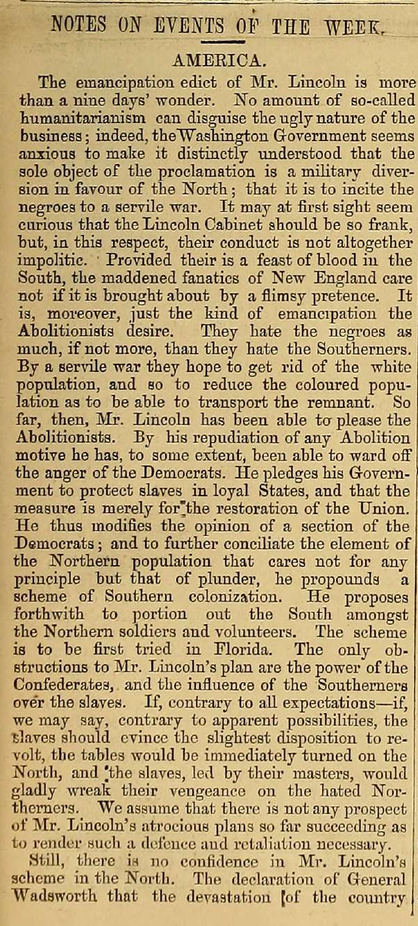 Article reporting and commenting on President Lincoln's preliminary Emancipation Proclamation issued after the battle of Antietam from the October 16, 1862 issue of The Index Column 1