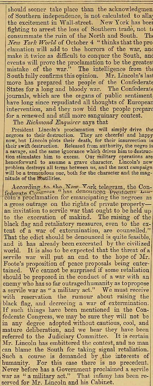 Article reporting and commenting on President Lincoln's preliminary Emancipation Proclamation issued after the battle of Antietam from the October 16, 1862 issue of The Index Column 2
