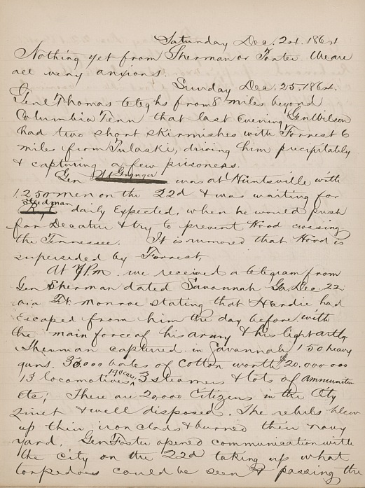 Civil War Savannah Falls David Bates Diary Entry 1