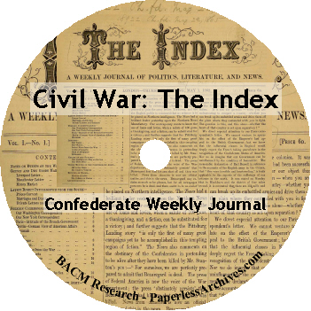 Civil War The Index Confederate Weekly Journal 1862-1864 DVD-ROM