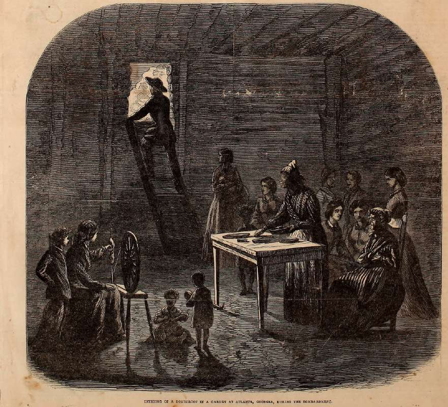Civil War illustration of a bombshelter in Atlanta during a bombardment during Sherman's March from the Frank Leslie's Illustrated Weekly