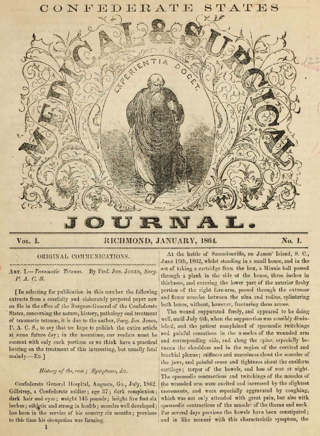 Confederate States Medical & Surgical Journal Page 1