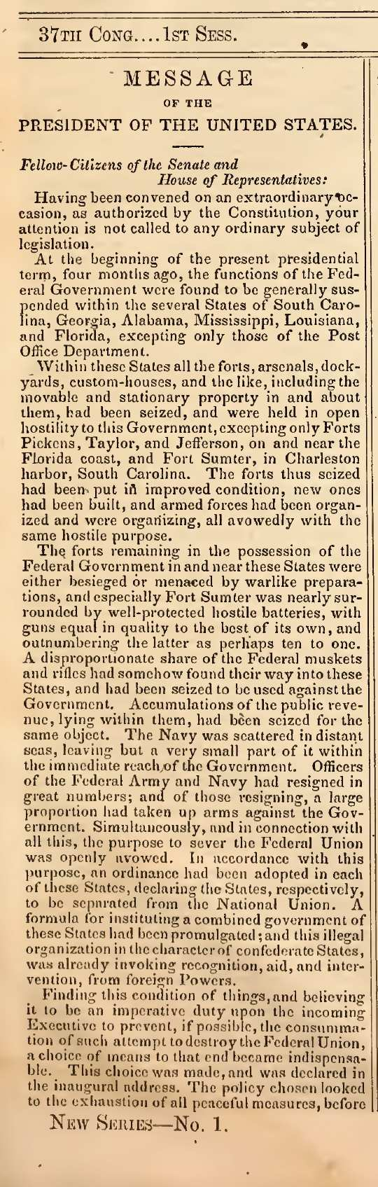 Congressional Globe message from President Lincoln July 1 1861