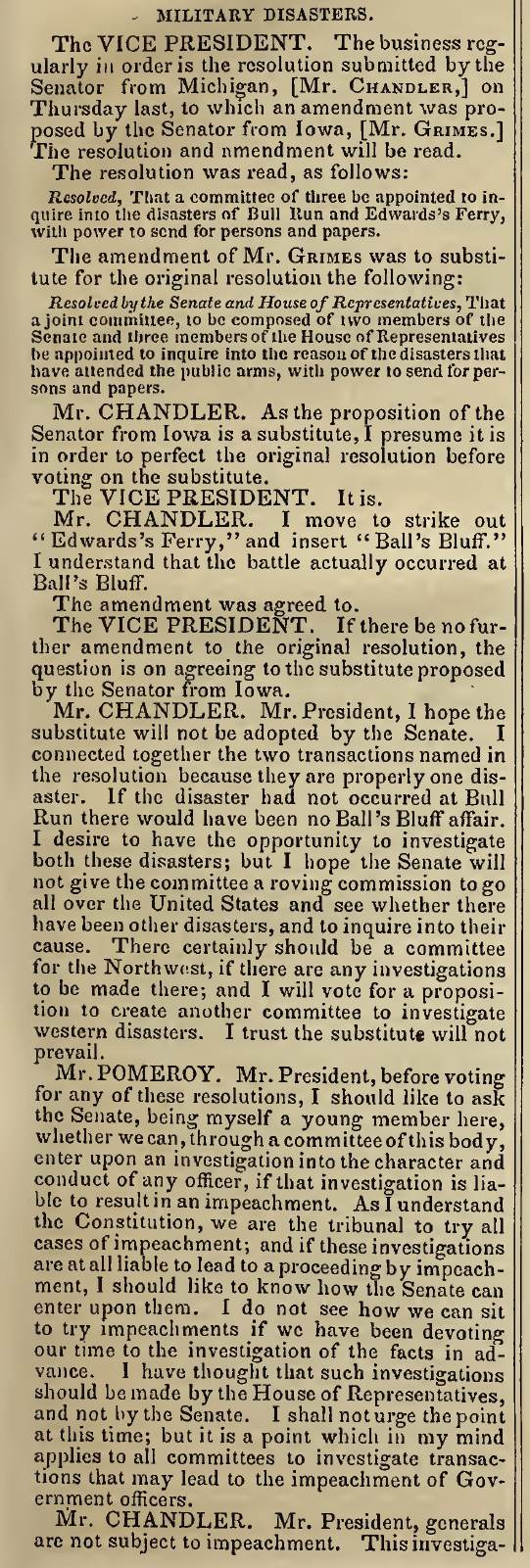 Congressmen move to establish an oversight committee after the disasters at Bull Run and Ball's Bluff - Congressional Globe December 9, 1861