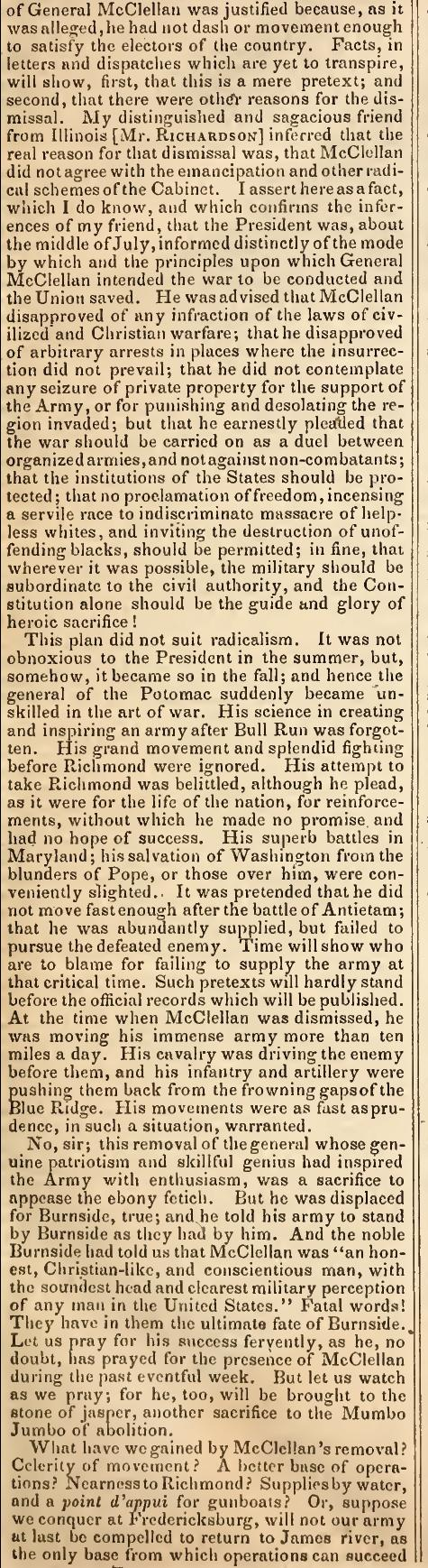 Democratic House member Samuel Cox of Ohio criticizes President Lincoln's dismissal of General McClellan � Congressional Globe December 18, 1862