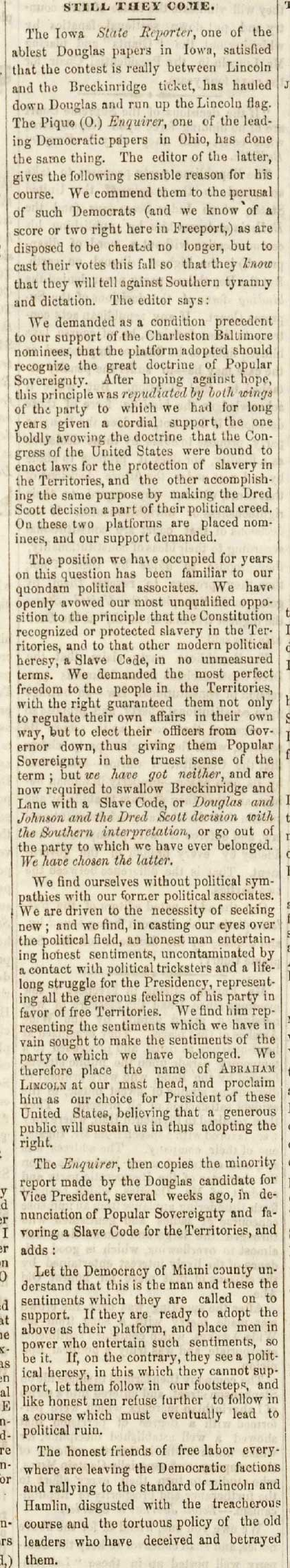 Freeport Wide Awake Abraham Lincoln Campaign Newspaper August 18, 1860 Article