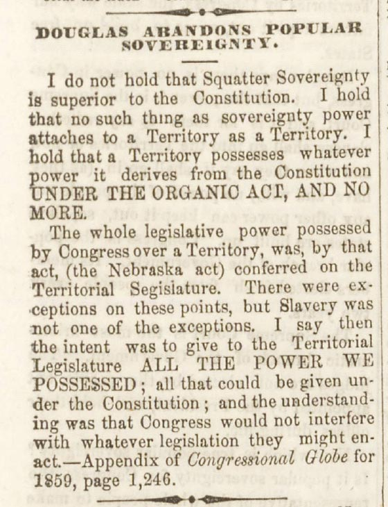 Freeport Wide Awake Abraham Lincoln Campaign Newspaper August 18, 1860 Article - Douglas Abandons Popular Sovereignty