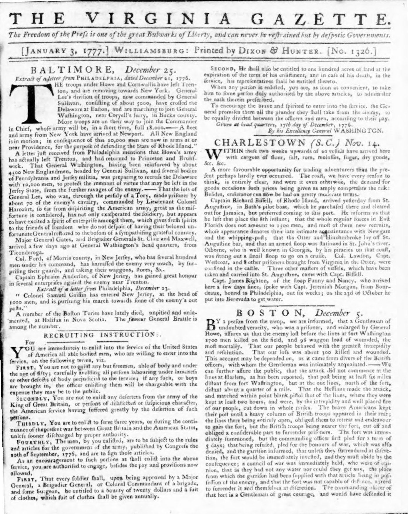 General-George-Washington-Recruiting-Instructions-for-the-Continental-Army-in-the-Virginia-Gazette-Newspaper-January-3-1777