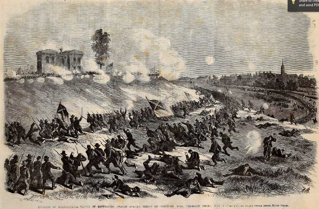 Invasion of Pennsylvania - Battle of Gettysburg charge of the rebels on Cemetery Hill, Thursday night July 2