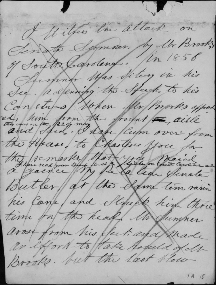 Isaac Bassett Papers Sample Page 3 Notes on the caning of Sentaor Charles Sumner