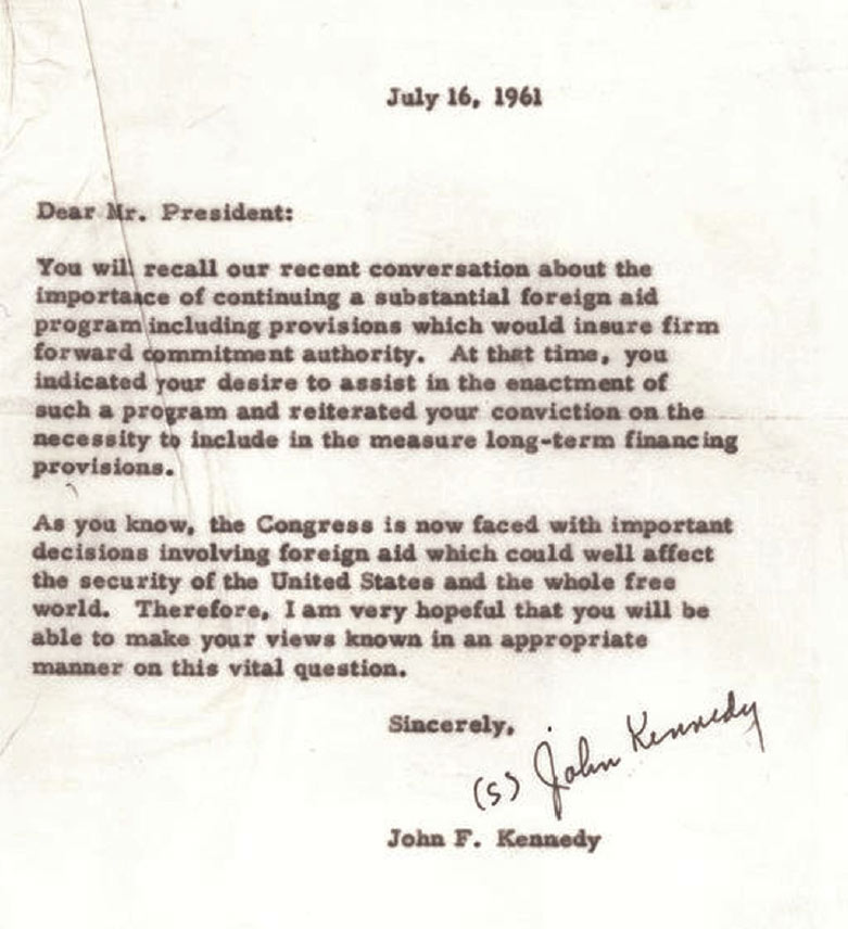 President Kennedy to Eisenhower on foreign aid