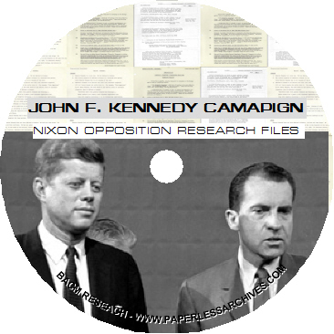 JFK 1960 Election Campaign Nixon Opposition Research Files CD-ROM