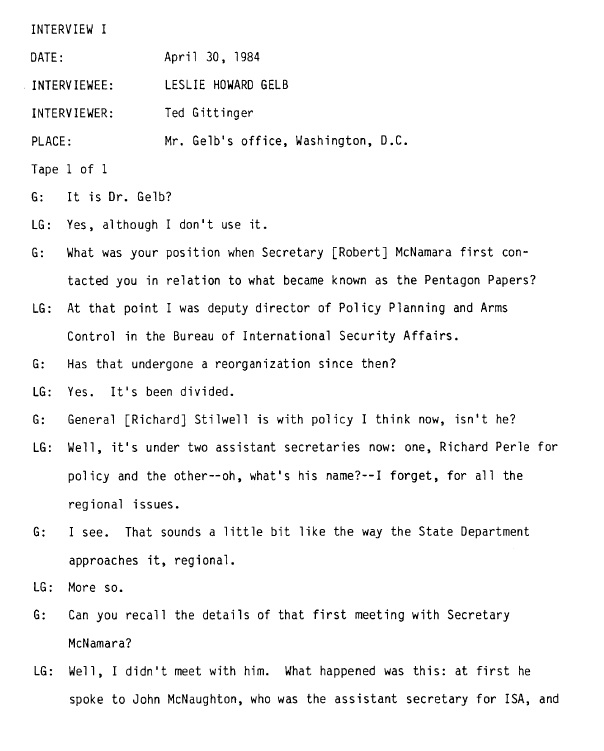 Leslie_H._Gelb_LBJ_Library_Oral_History_Interview_covering_Pentagon_Papers