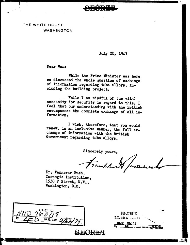 Memo from President Roosevelt to Vannevar Bush seeking to expand the information being shared with the British