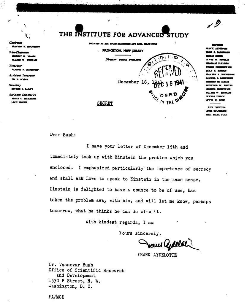 Memo on efforts to get information from Albert Einstein to aid the development of the atomic weapon
