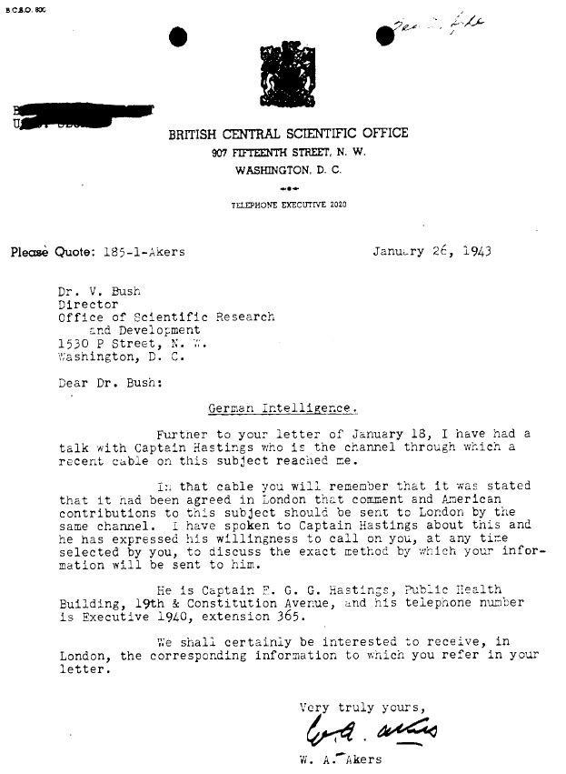 Memo showing strain in information channel between the Americans and the British