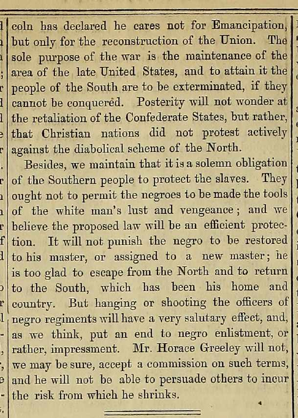Opinion piece on what the Confederate reaction should be to the Union using African-American troops appearing in the September 11, 1862 issue of The Index Column 2