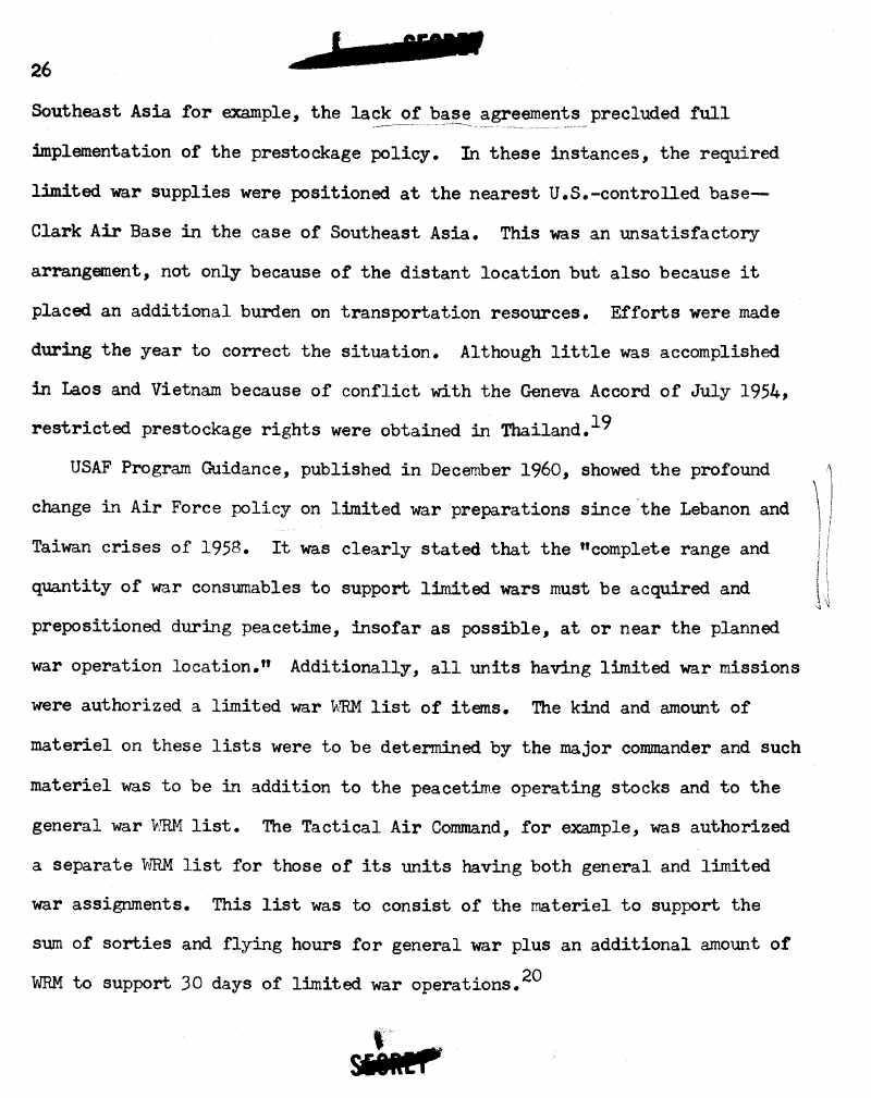 Page from Logistic Preparations for Limited War, 1958-1961