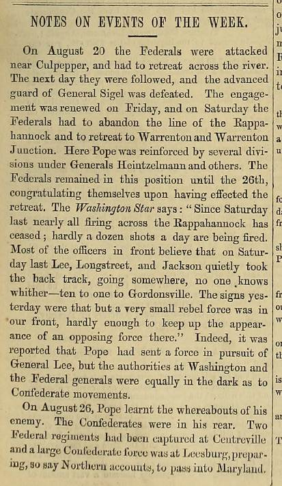 Report on Union General John Pope's campaign from the September 11, 1862 issue of The Index