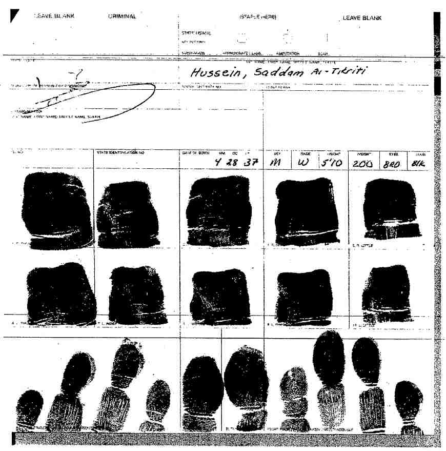 Saddam Hussein FBI fingerprint card
