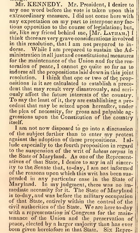 Senator Anthony Kennedy from Maryland on the suspension of Habeas Corpus in Maryland � Congressional Globe July 10 1861