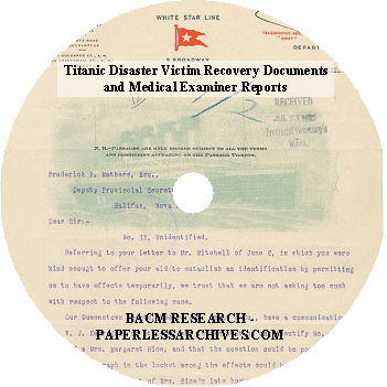 Titanic Disaster Victim Recovery Documents CD-ROM 75dpi