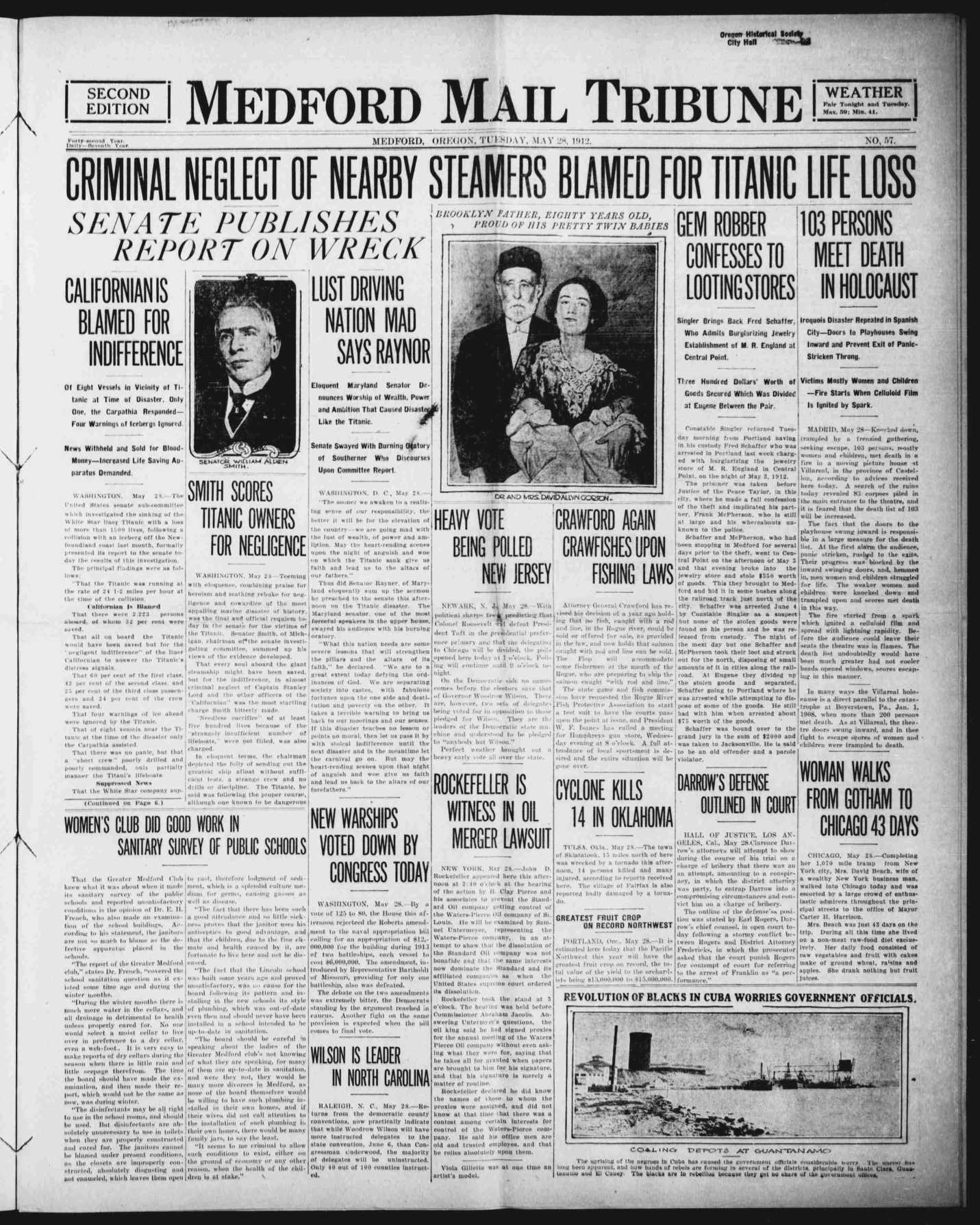 Titanic Newpaper Front Page 1912-05-28 Medford Mail Tribune, May 28, 1912, SECOND EDITION, Page 1