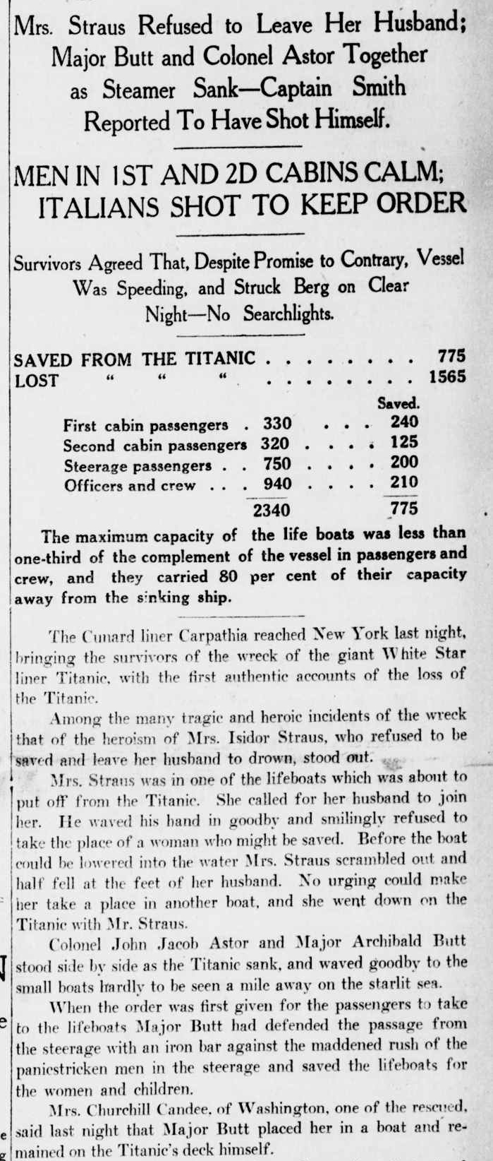 Titanic Newspaper Article 1912-04-19 New-York Tribune, April 19, 1912, Page 1