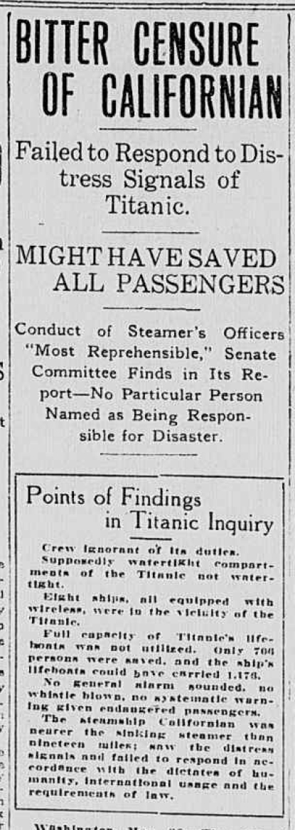 Titanic Newspaper Article 1912-05-29 The Times Dispatch (Richmond, VA), May 29, 1912, Page 1