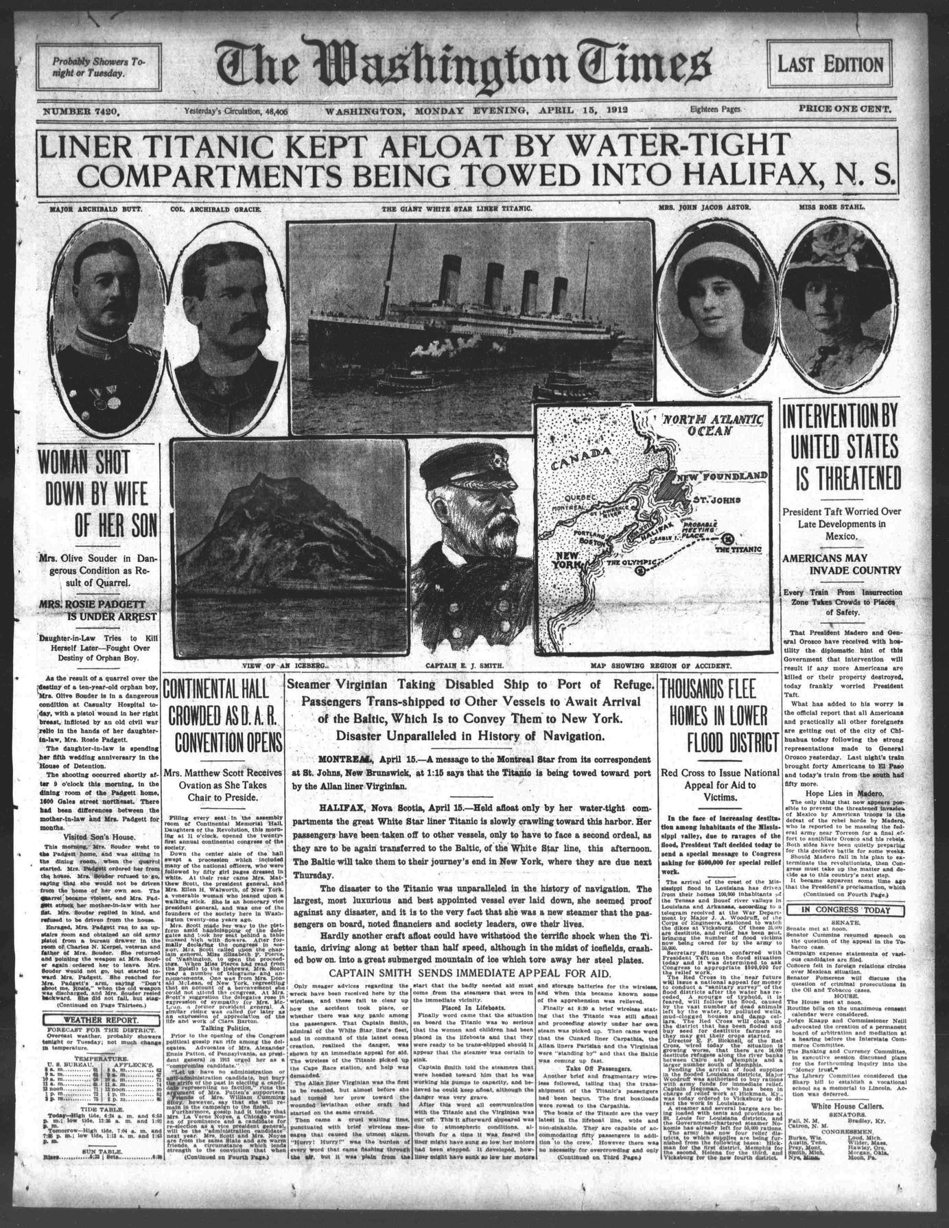 Titanic Newspaper Front Page 1912-04-15 The Washington Times, April 15, 1912, LAST EDITION, Page 1