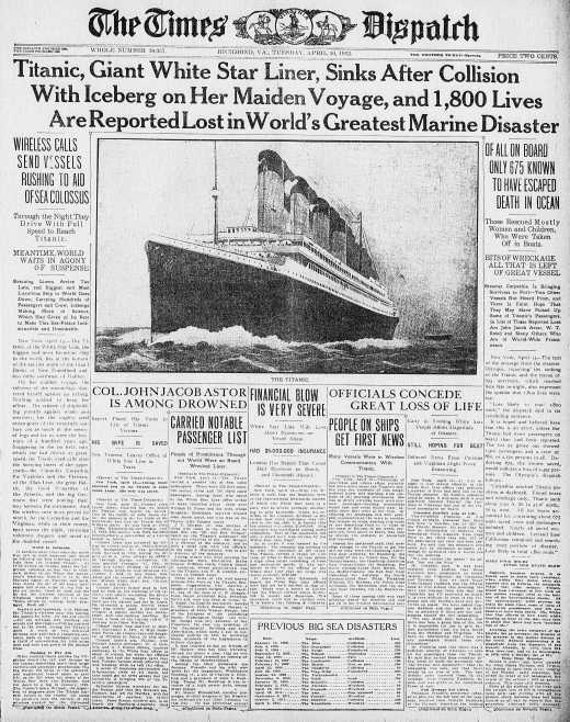 Titanic Newspaper Front Page 1912-04-16 The Times Dispatch (Richmond, VA), April 16, 1912, Page 1