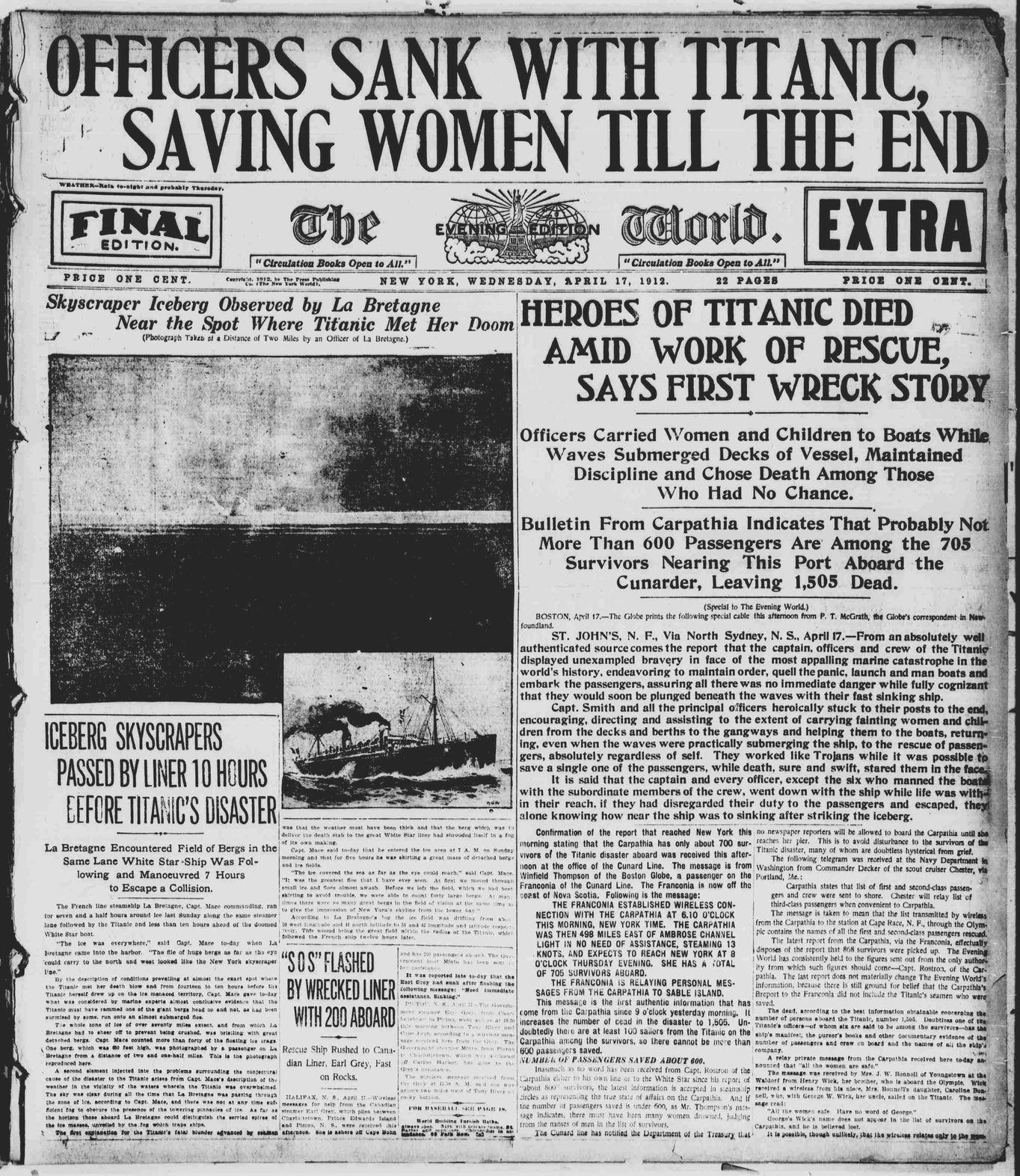 Titanic Newspaper Front Page 1912-04-17 The Evening World (New York, NY), April 17, 1912, Final Edition-Extra, Page 1