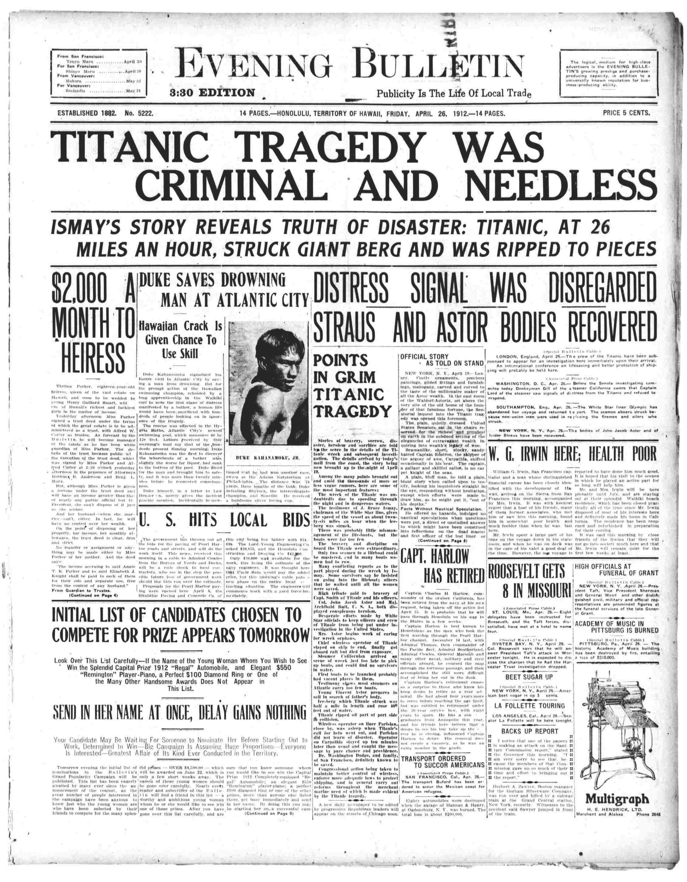 Titanic Newspaper Front Page 1912-04-26 Evening Bulletin (Honolulu, HI), April 26, 1912, 330 PM EDITION, Page 1.pdf