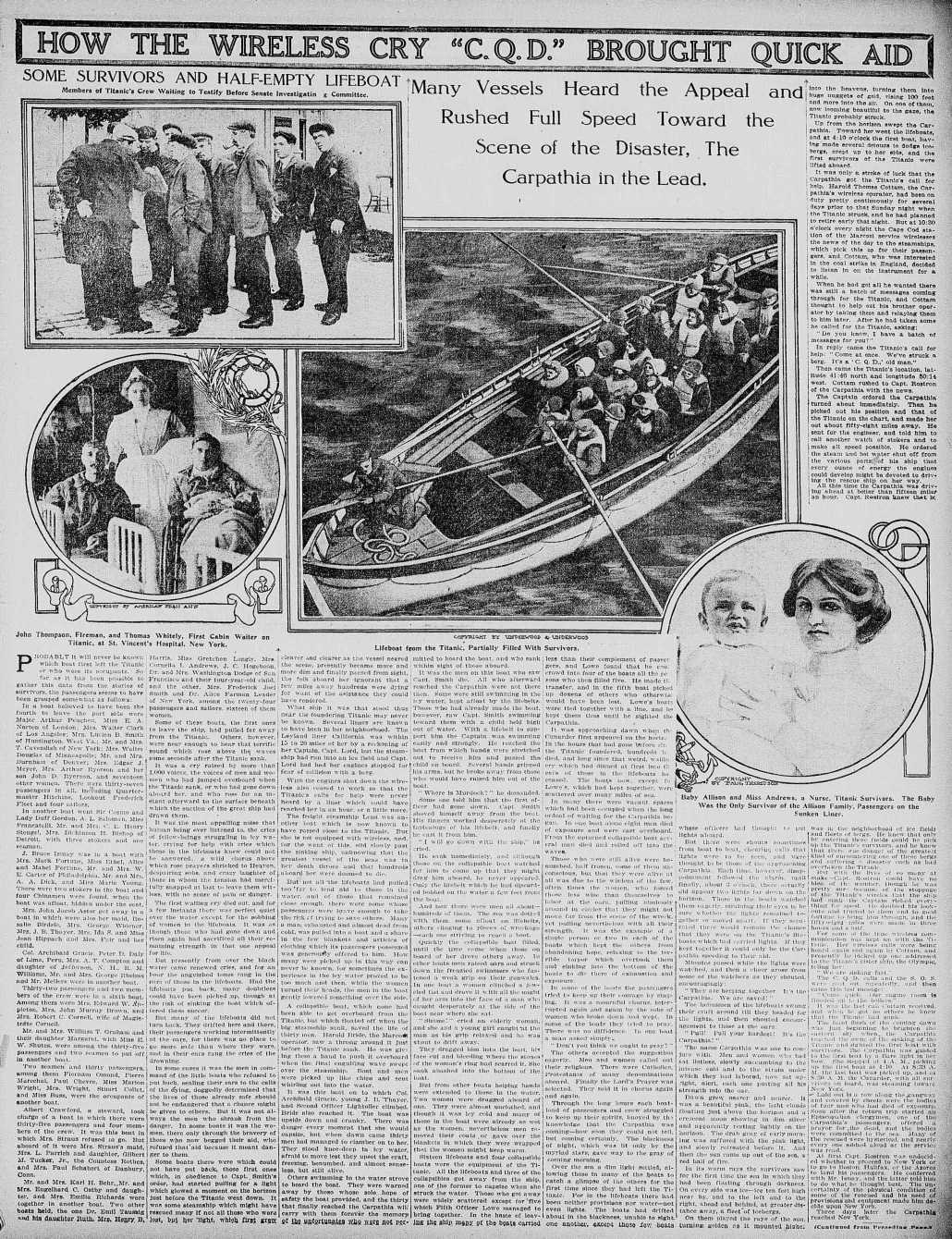 Titanic Newspaper Front Page 1912-04-28 The Times Dispatch (Richmond, VA), April 28, 1912, Page 47