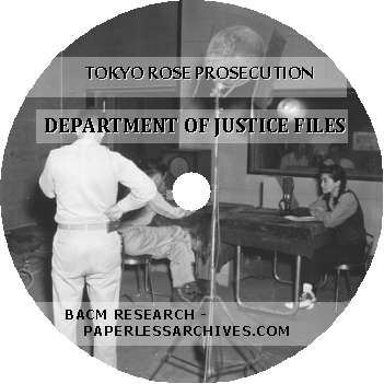 Tokyo Rose Prosecution Department of Justice Files CD-ROM