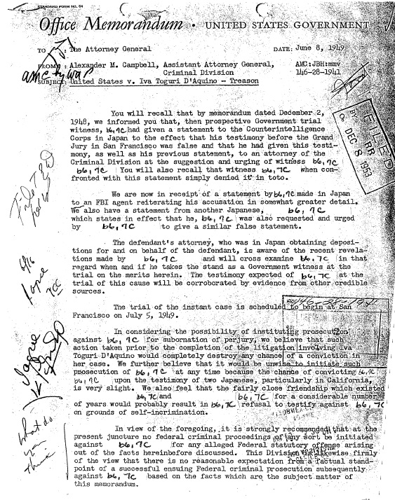 Tokyo Rose Prosecution Department of Justice Files Page