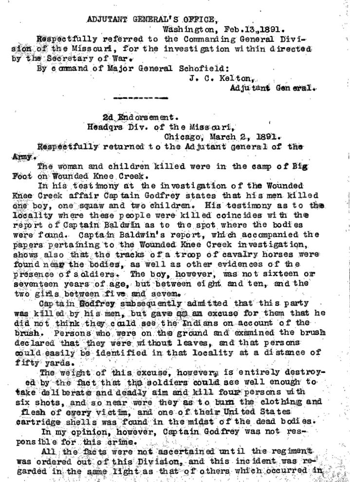 United States Army Reports on Wounded Knee Massacre 2