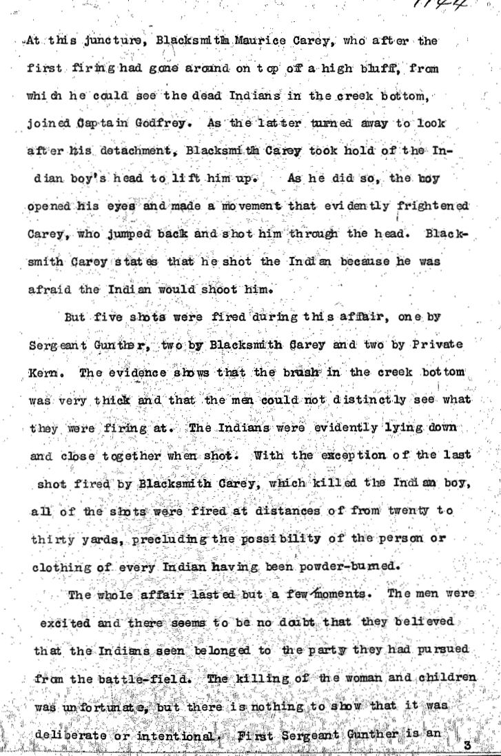 United States Army Reports on Wounded Knee Massacre 4