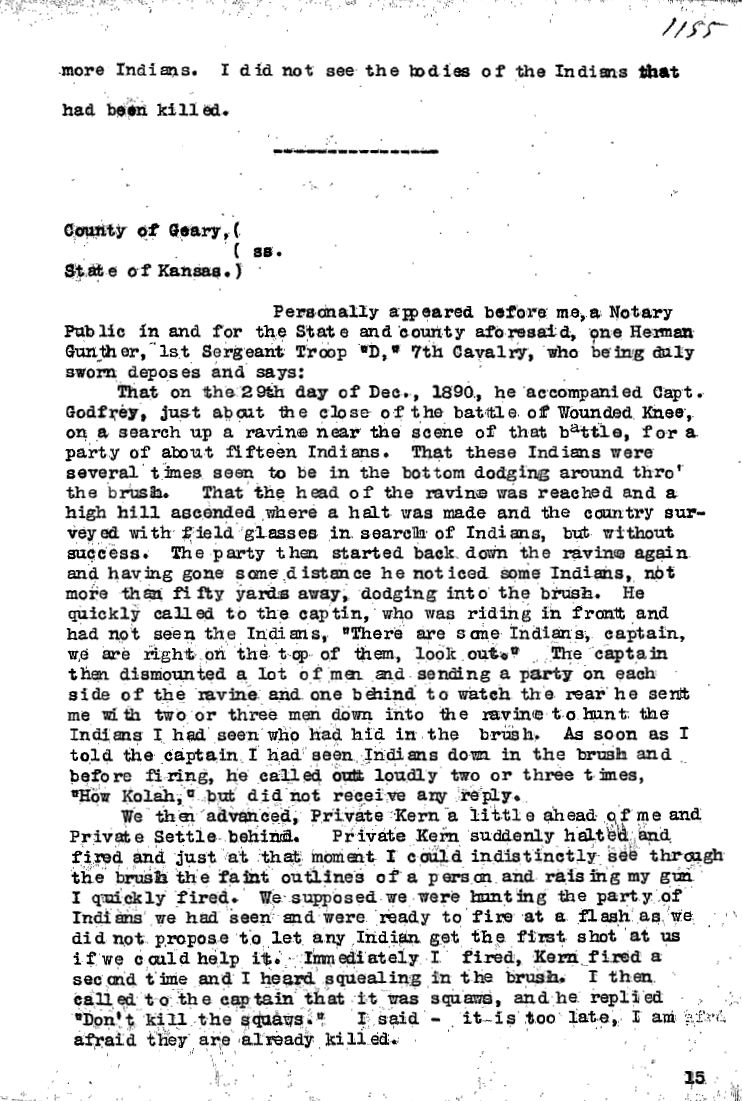 United States Army Reports on Wounded Knee Massacre 6