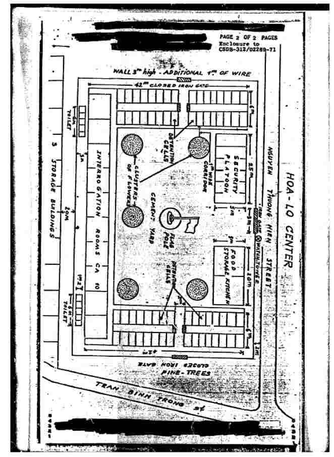 Layout of Hoa Lo Prison, also known as Hanoi Hilton