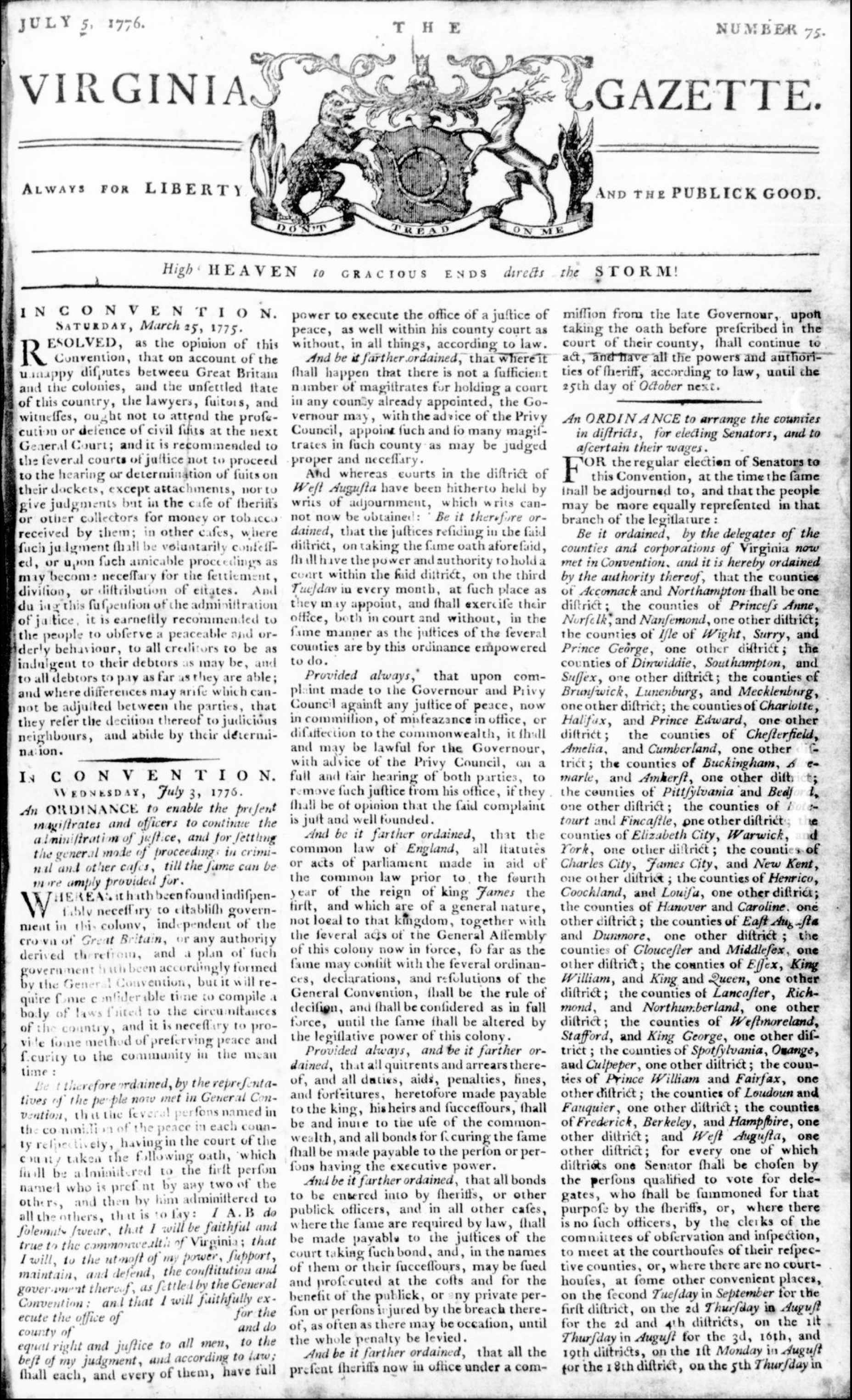 Virgina-Declares-Indepence-from-Britain-Newspaper-Article-Virginia-Gazette-July-5-1776