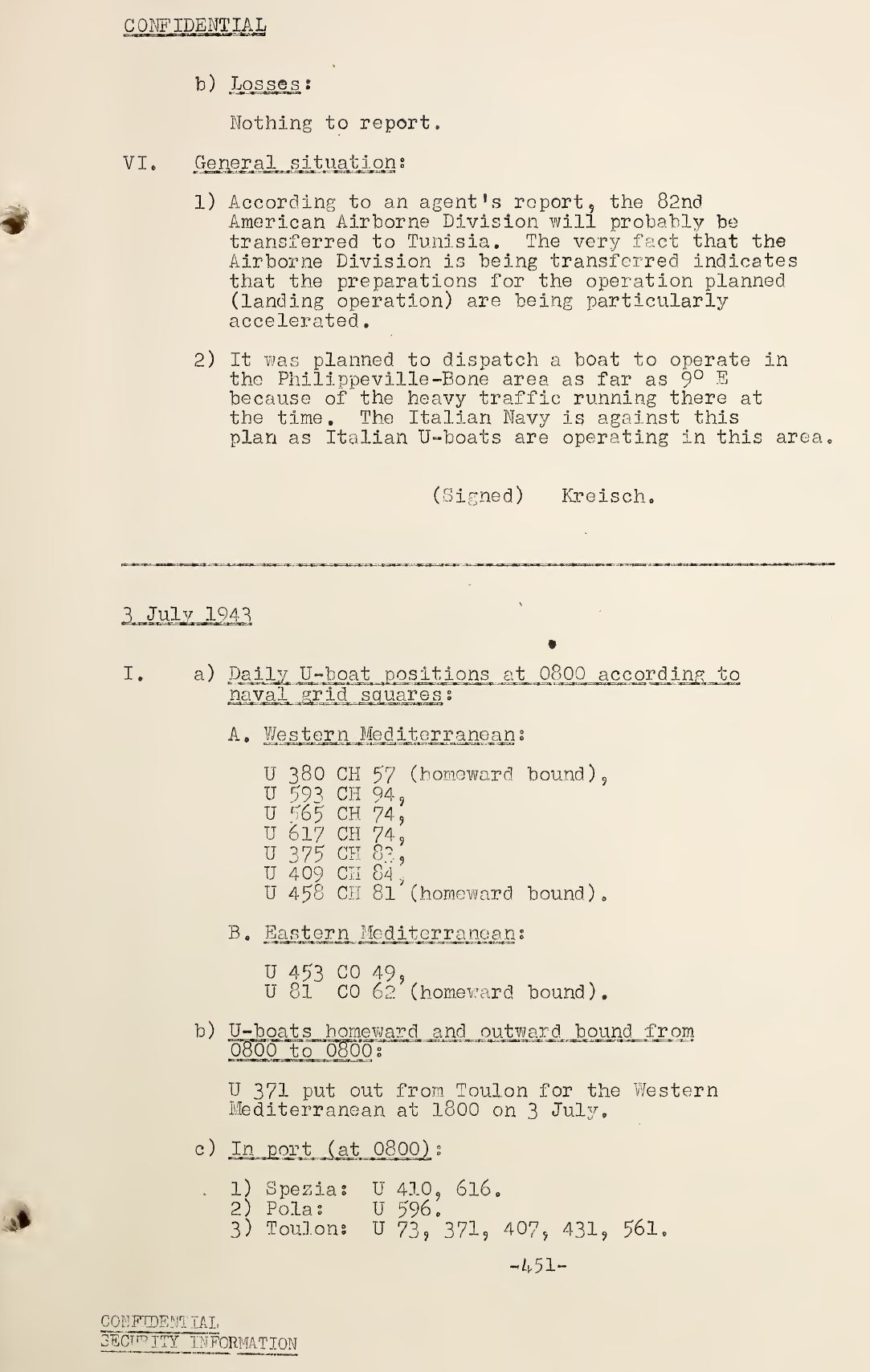 War Diary of Captain U-Boats Sample Entry 2