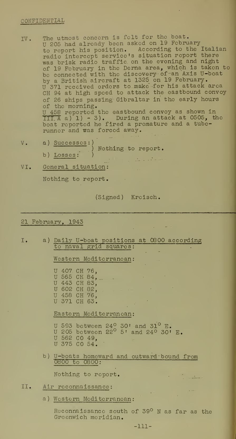 War Diary of Captain U-Boats Sample Entry 7