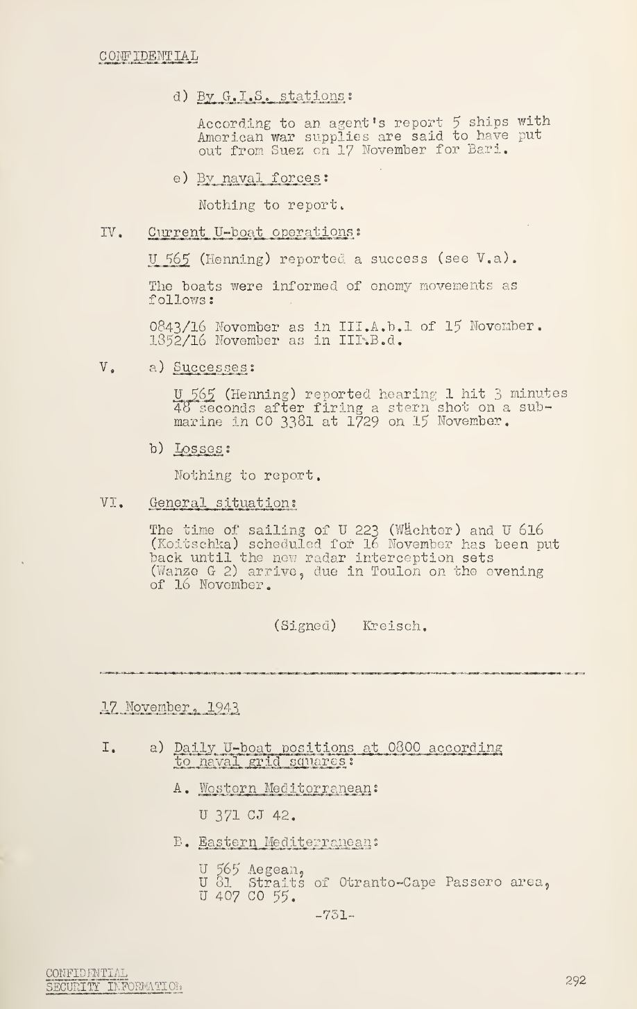 War Diary of Captain U-Boats Sample Entry 8