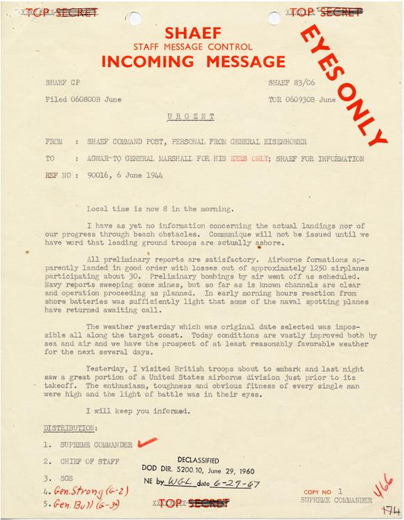 World War II D-Day Message from Eisenhower