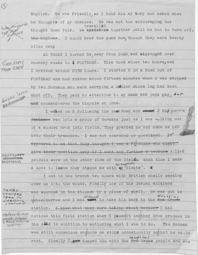 World War II Escape and and Evasion Report Sample Page 1