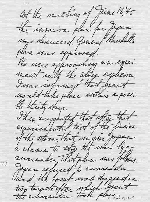 Handwritten notr by Truman on Atomic bomb